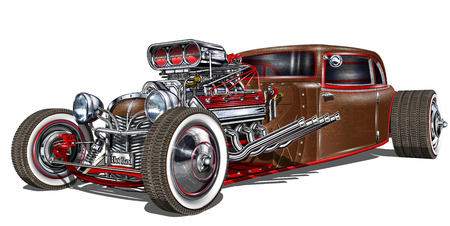 Ilustración de Vintage Hot Rod antique old car vehicle - Imagen libre de derechos