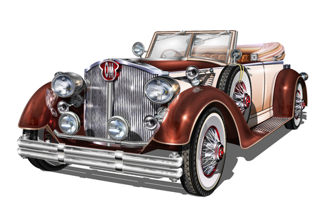 Ilustración de Vintage car icon illustration on white background. - Imagen libre de derechos