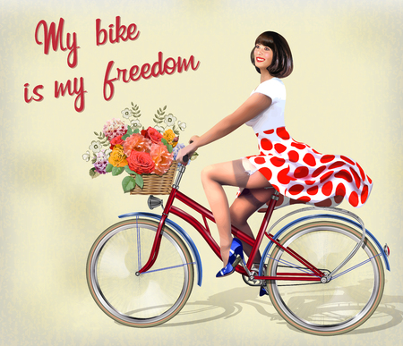 Photo pour Happy Pin-up girl on  a bike with flowers. - image libre de droit