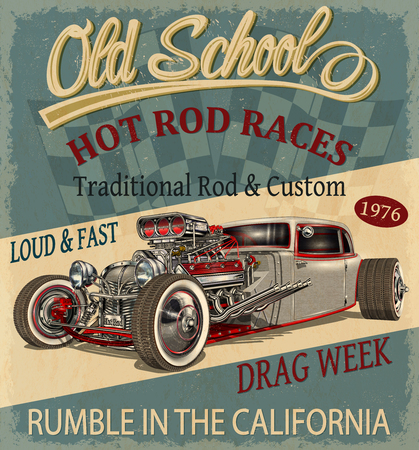 Illustration pour Vintage Hot Rod poster. - image libre de droit