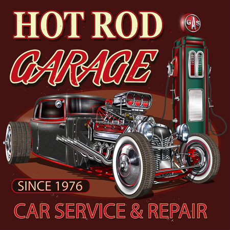 Illustration pour Vintage Hot Rod garage poster. - image libre de droit