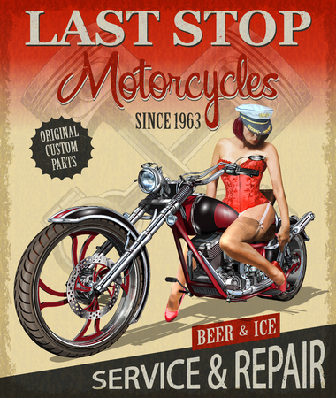 Ilustración de Vintage motorcycle poster with a lady riding on it. - Imagen libre de derechos