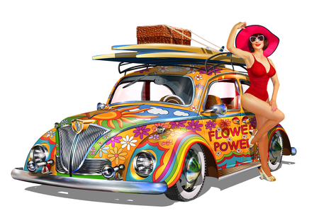 Illustration pour Vintage car with pin-up girl and surfboards. - image libre de droit
