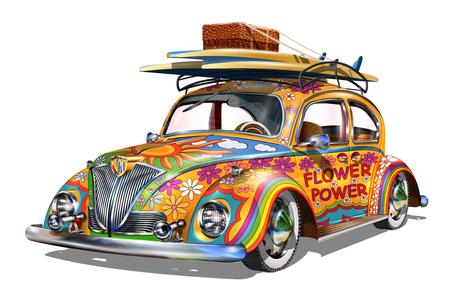 Illustration pour Hippie vintage car. - image libre de droit