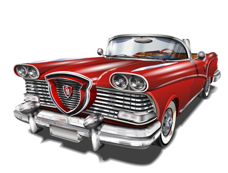 Illustration pour Vintage red car icon. - image libre de droit