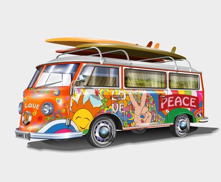 Ilustración de Retro bus with surf boards - Imagen libre de derechos