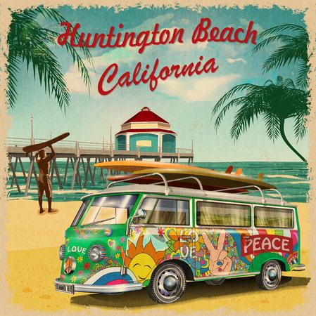 Illustration pour Huntington Beach,California retro poster. - image libre de droit