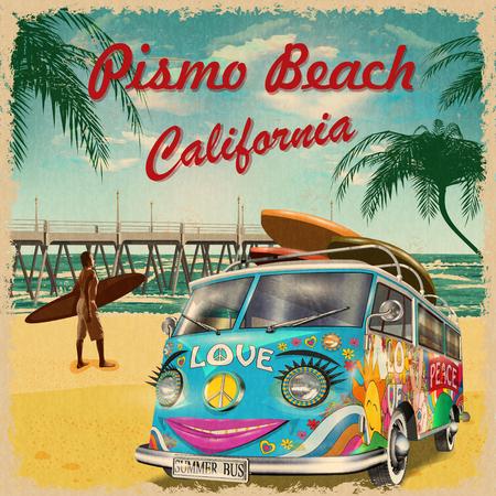 Illustration pour Pismo Beach,California retro poster. - image libre de droit
