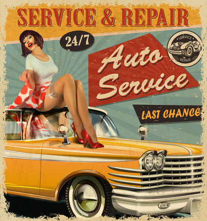 Ilustración de Vintage Auto Service retro poster with retro car and pin-up girl. - Imagen libre de derechos