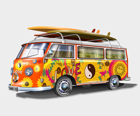 Illustration pour Retro bus with surf boards - image libre de droit