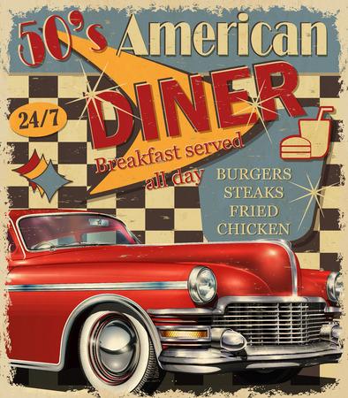 Ilustración de American Diner vintage poster. - Imagen libre de derechos