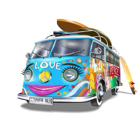 Illustration pour Retro bus with surf boards - image libre de droit