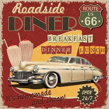 Illustration pour American Diner vintage poster. - image libre de droit