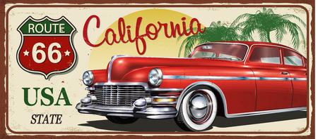 Illustration pour California vintage metal sign, vector illustration. - image libre de droit