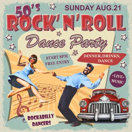 Ilustración de Rock and Roll Dance Party retro poster. - Imagen libre de derechos