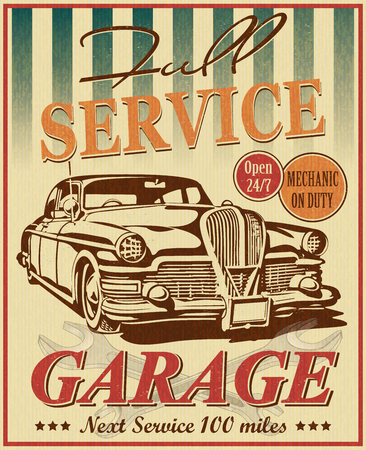 Illustration pour Vintage garage retro poster - image libre de droit