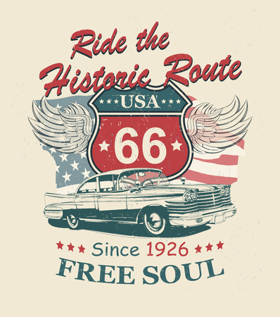 Illustration pour Route 66 typography for t-shirt print with sign route 66 and retro car.Vintage poster. - image libre de droit