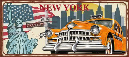Illustration pour New York vintage metal sign, vector illustration. - image libre de droit