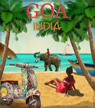 Ilustración de Goa. India vector poster. - Imagen libre de derechos