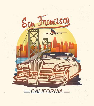 Illustration pour San Francisco typography for t-shirt print with retro car.Vintage poster. - image libre de droit