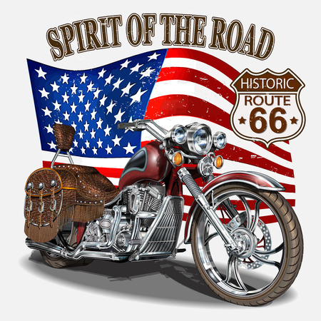 Illustration for Vintage Route 66 motorcycle poster,t-shirt print. - Royalty Free Image