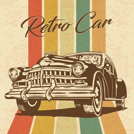 Illustration pour Vintage car on retro background. - image libre de droit