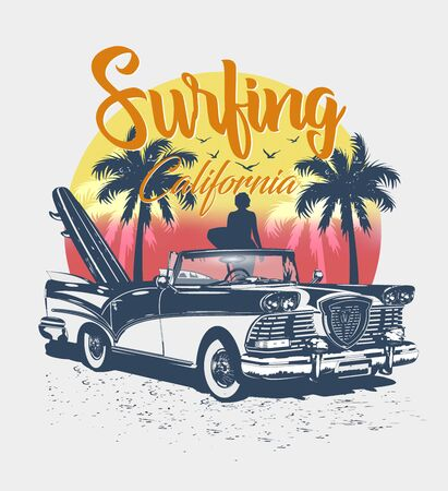 Illustration pour California typography for t-shirt print with surf, beach and retro ?.Vintage poster. - image libre de droit