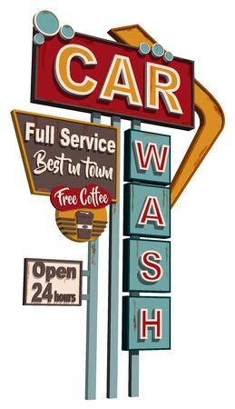 Illustration pour Car wash old signage, vintage metal sign. - image libre de droit