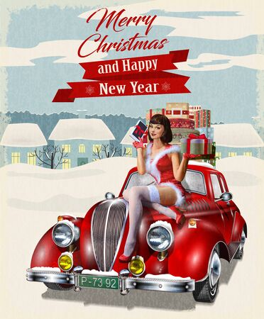 Illustration pour Christmas pin-up girl with gift box in hands while sitting on retro car.Merry Christmas and Happy New Year postcard. - image libre de droit
