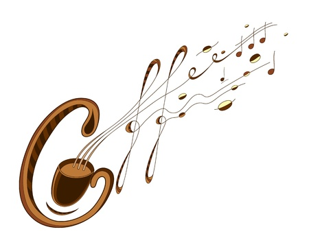 Illustration for Artistic coffee and musik sign. EPS 8 well orginized, by letters, colors and outlines. - Royalty Free Image
