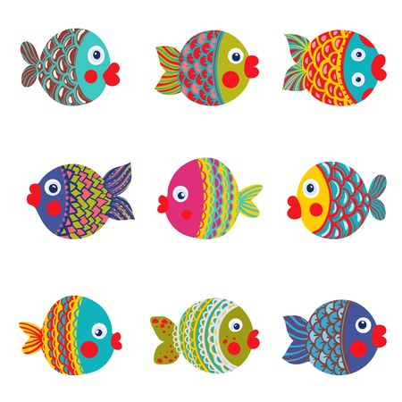 Illustration pour Fish Collection Colorful Graphic Cartoon  Childish illustration set  - image libre de droit