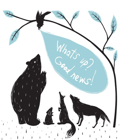 Illustration pour Forest Animals News Meeting  Bear fox wolf rabbit crow illustration in black  Vector EPS8  - image libre de droit