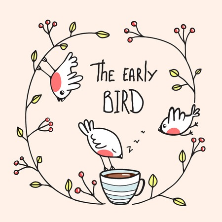 Illustration pour The Early Bird Saying with Birds and Coffee. Little birdies drinking coffee in the morning. Vector EPS8 - image libre de droit