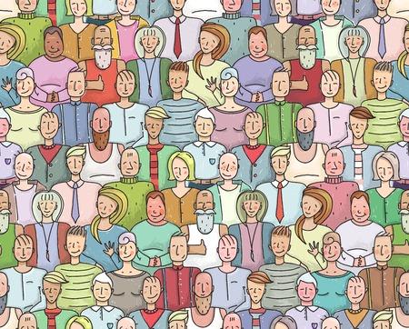 Illustration pour Smiling People Crowd Collective Portrait Seamless Pattern. Colorful men and women throng portrait. Vector illustration EPS8. - image libre de droit