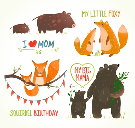 Photo pour Cartoon Forest Animals Parent with Baby Birthday Party Cards - image libre de droit