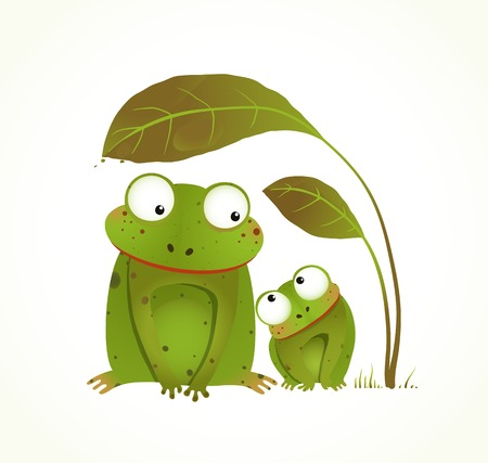 Photo pour Two Frogs Mother and Baby Childish Animal Cartoon. Hand drawn watercolor style drawing of animals. Vector illustration EPS10. - image libre de droit