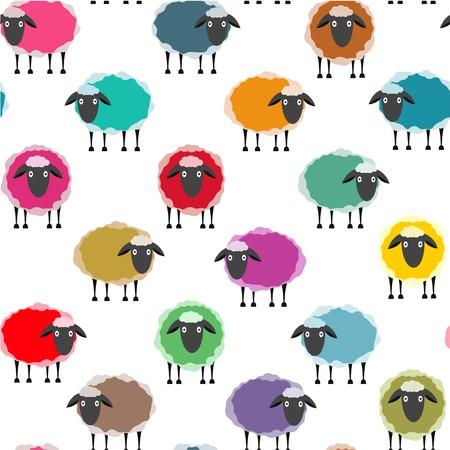Ilustración de Colorful Seamless Sheep Pattern. Seamless Sheep Pattern. Vector EPS10. - Imagen libre de derechos