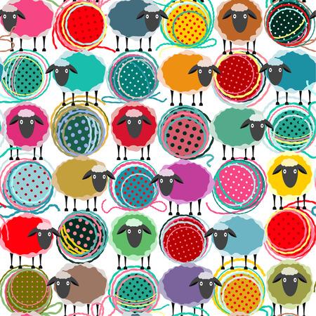 Ilustración de Colorful Seamless Sheep and Yarn Balls Pattern. Seamless Sheep Pattern. Vector EPS10. No effects used. - Imagen libre de derechos