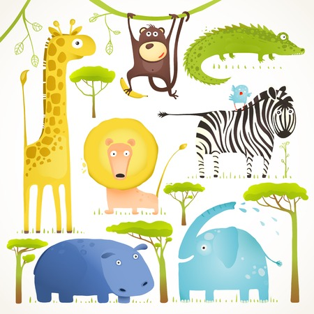 Photo pour African Animals Fun Cartoon Clip Art Collection. Brightly colored childish african animals set. Vector illustration EPS10. - image libre de droit