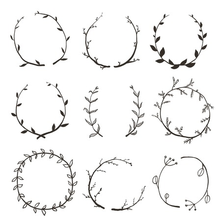 Illustration pour Rustic Laurel and Wreath Collection for Design. Hand drawn sketchy style wreath clip art set. Vector EPS10. - image libre de droit