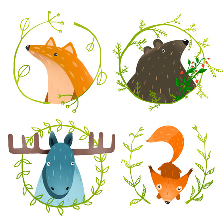 Photo pour Wild Forest Animals Set. Forest animals portraits set with laurels on white background. Vector EPS10. - image libre de droit
