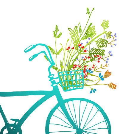 Illustration pour Retro Summer Bike with Bunch of Flowers Card. Summer blue bicycle fragment square with a basket full of plants illustration. Vector EPS10. - image libre de droit