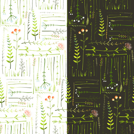 Illustration pour Meadow with Grass and Flowers Seamless Background. Green meadow grass seamless patterns on black and white background illustration. Vector - image libre de droit