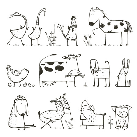 Illustration for Funny Cartoon Farm Domestic Animals Collection for Kids Coloring Page - Royalty Free Image