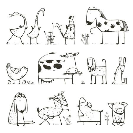 Photo pour Funny Cartoon Farm Domestic Animals Collection for Kids Coloring Page - image libre de droit