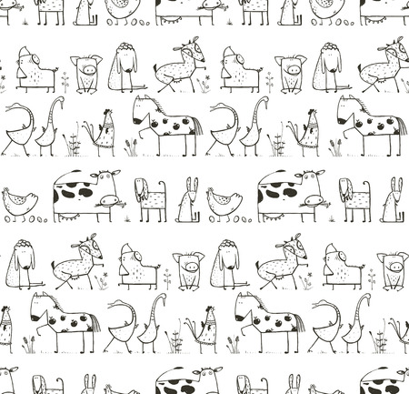 Illustration for Funny Cartoon Farm Domestic Animals Seamless Pattern for Kids Coloring Page - Royalty Free Image