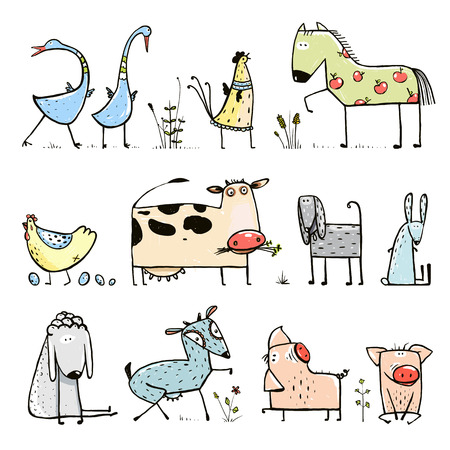 Illustration pour Funny Cartoon Farm Domestic Animals Collection for Kids - image libre de droit