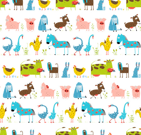Illustration pour Bright Fun Cartoon Farm Domestic Animals Seamless Background - image libre de droit
