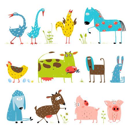 Ilustración de Brightly Colored Fun Cartoon Farm Domestic Animals Collection for Kids - Imagen libre de derechos