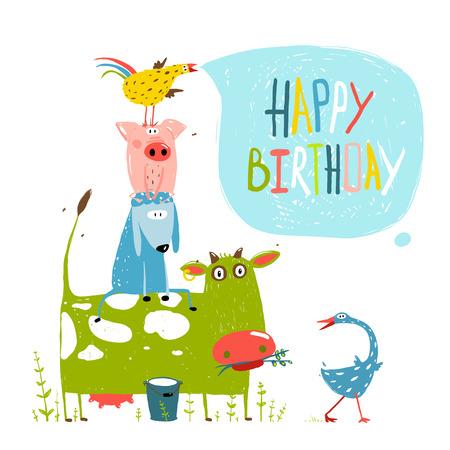 Photo for Birthday Fun Cartoon Farm Animals Pyramid Greeting Card - Royalty Free Image